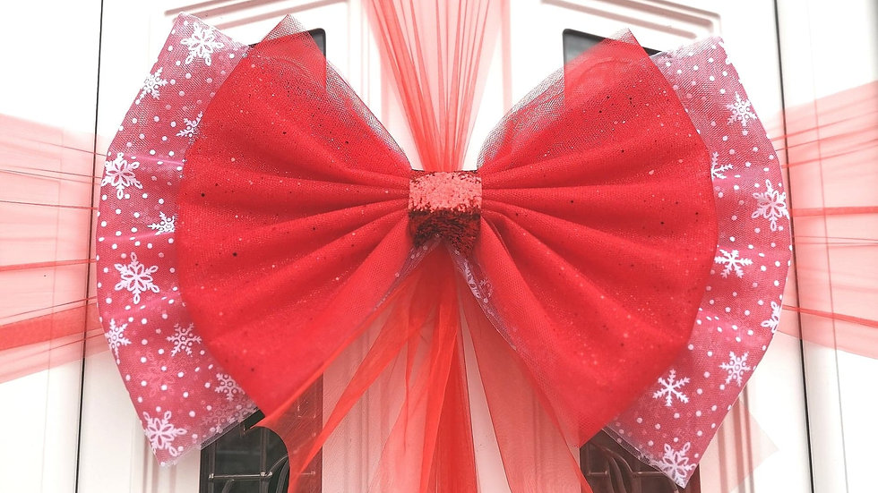 Snowflake Red  Berry Door bow | Christmas door bow | door bow