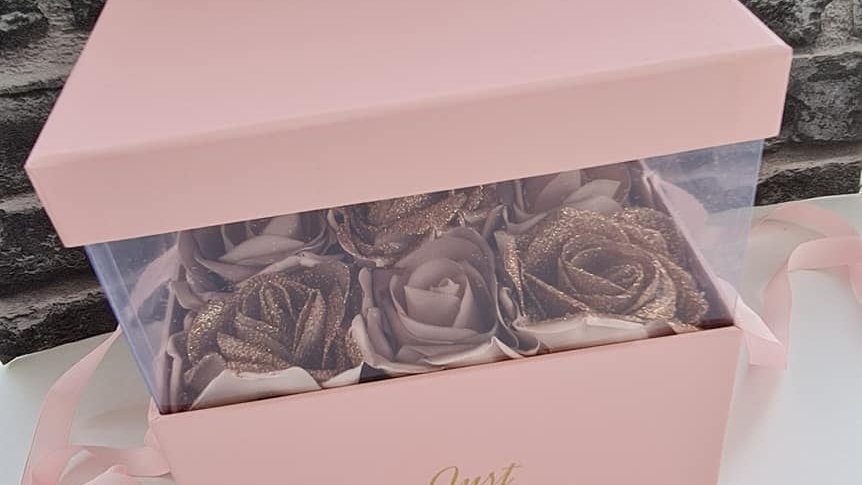 Glitter Rose Gold Floral Gift Box
