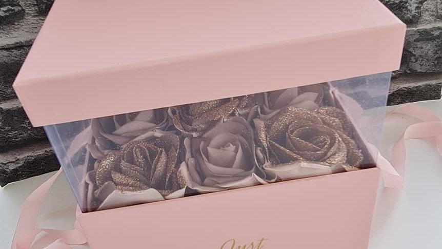 Glitter Rose Gold Floral Gift Box