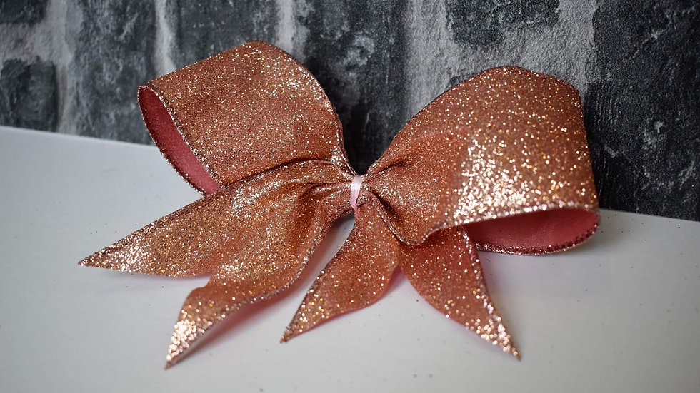 Glitter Rose Rold Christmas Tree Clip on Bows set of 6
