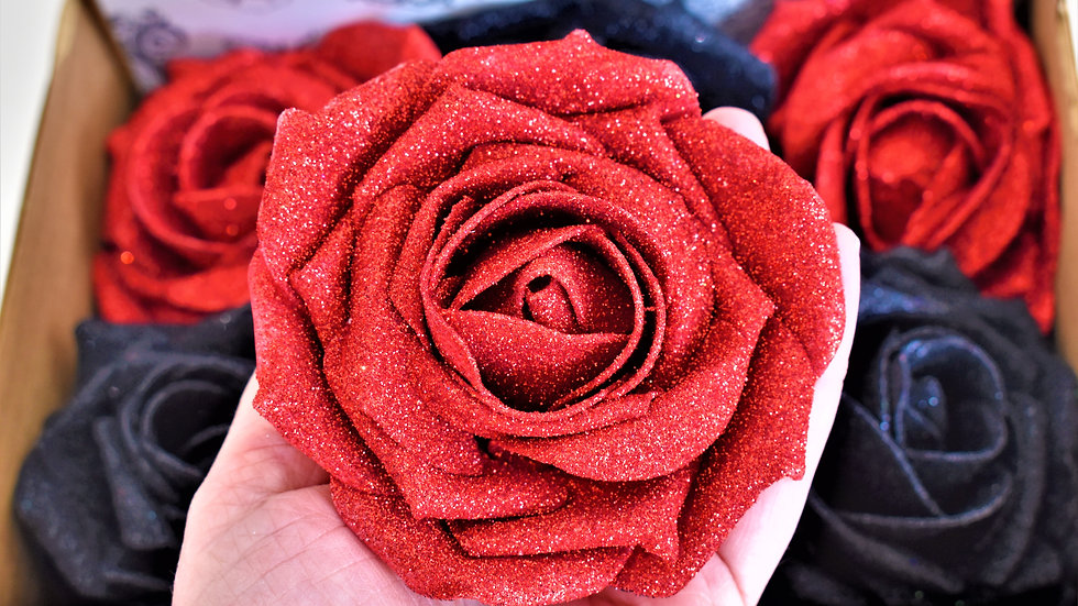 red glitter rose  | Red Christmas Flower | Christmas tree decoration