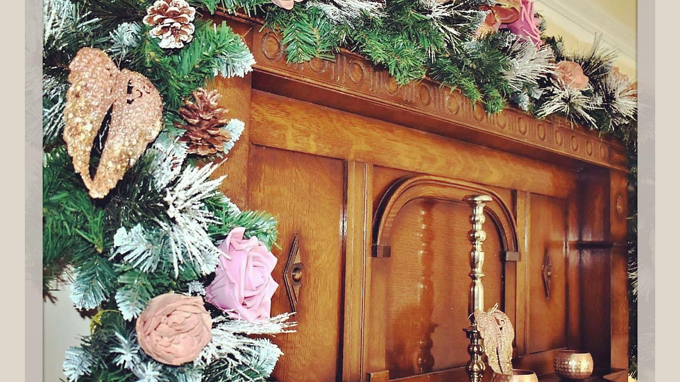 Rose Gold Christmas Garland   Christmas garland on stairs   Christmas garland for the fireplace