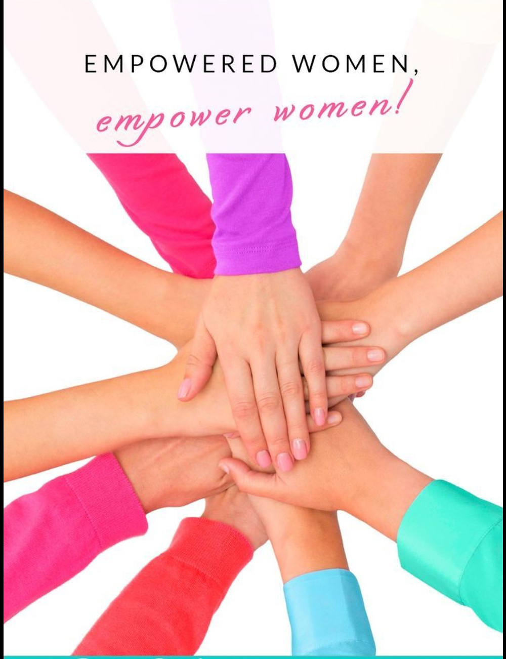 many women with multicolored shirts putting their hands together in a circle huddle style