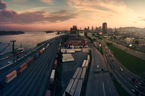 Vue panoramique du Port et du Centre-ville de Montréal