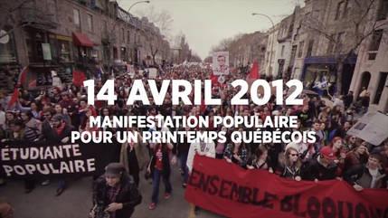 Manifestation populaire pour un printemps québécois