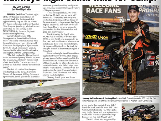 Great Late Model Digest Article on Sammy Smith's 2019 World Series of Asphalt Success at New Smyrna