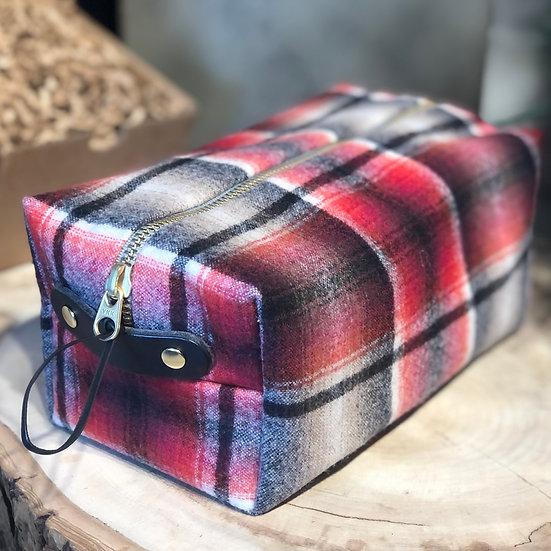 Red plaid Dopp bag
