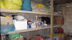 shelves for the tools and chemicals