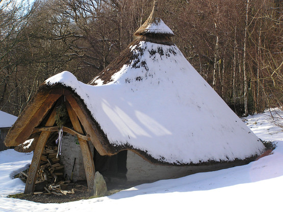 Roundhouse with a snow-cap