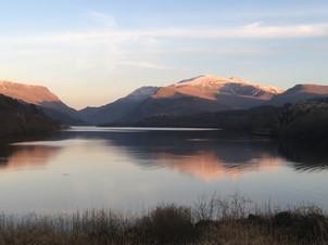 View towards Snowdon across the lake