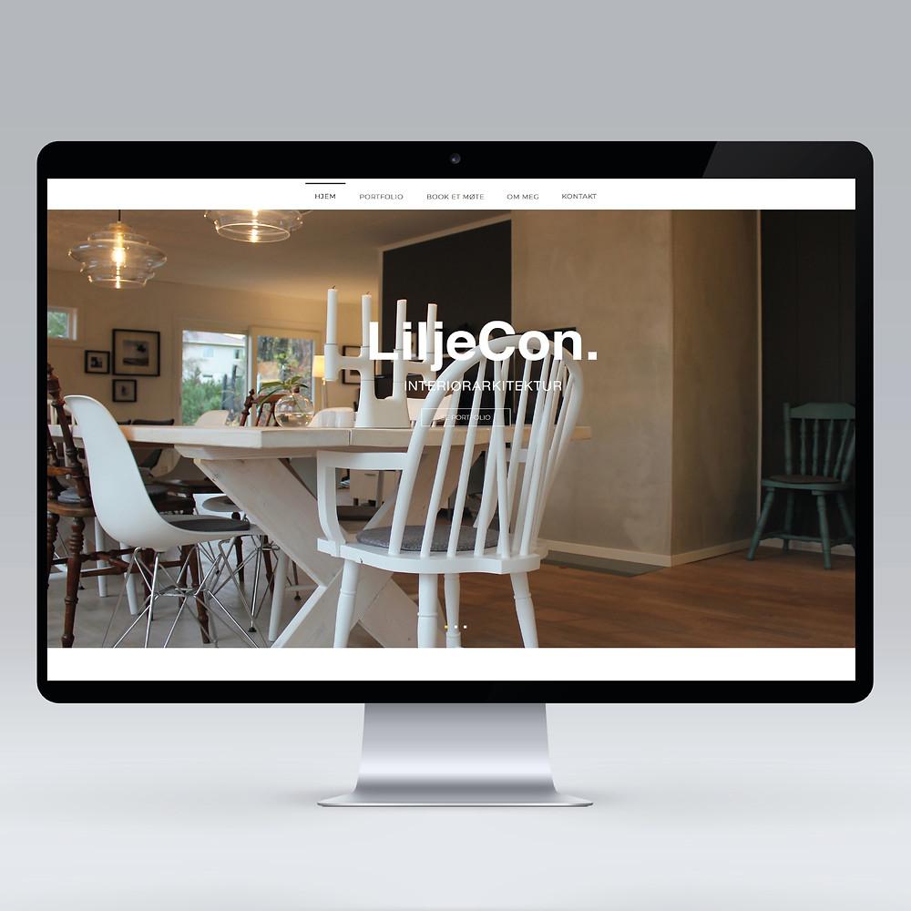 Forside av nettsiden av Liljecon interiørarkitektur