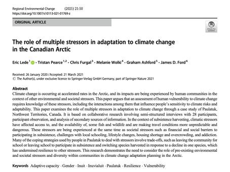 New Paper in Regional Environmental Change