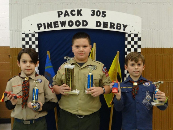 Pack 305 Cub Scouts Raced for the Finish at Pinewood Derby