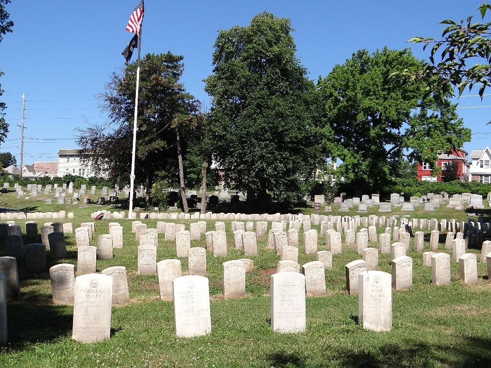 The veterans gravestones of the Soldiers' Circle at Arlington Cemetery in Kearny continue to brighten in the sun following the arduous effort to restore them to their former glory with D/2 Biological Solution as the Eagle Project of Eliot Jablonski, Life Scout and Assistant Senior Patroller of Unit 305 (photo courtesy of Unit 305 in Kearny)