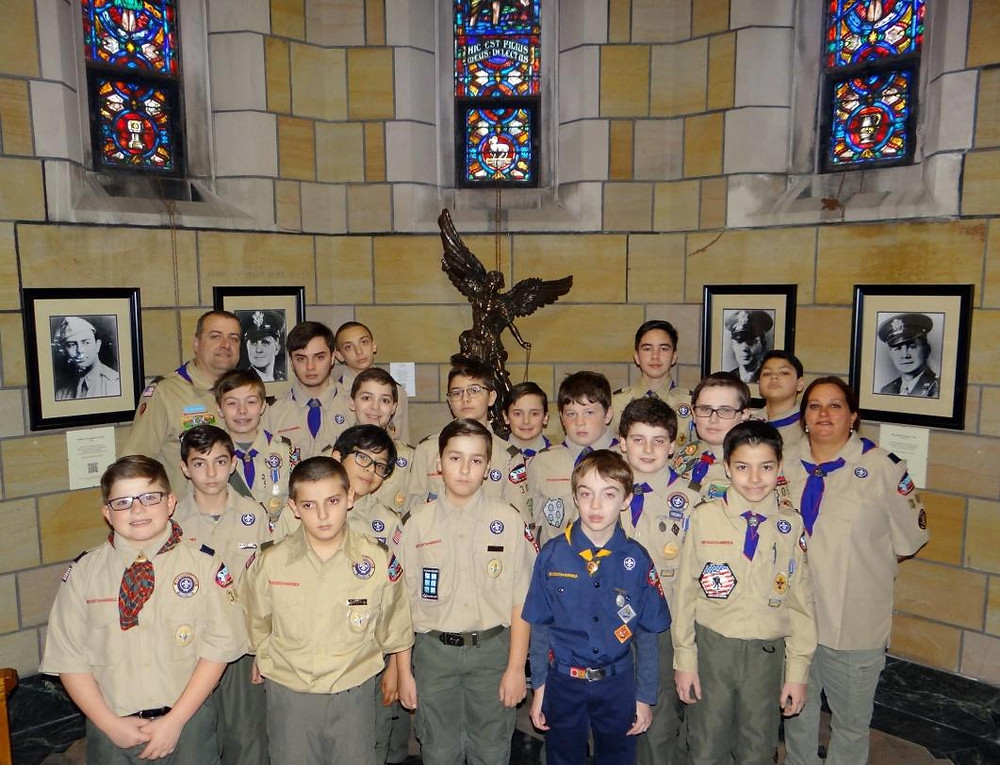 Scouts from Unit 305 in the Archdiocesan Sanctuary of the Four Chaplains at St. Stephen's Church in Kearny / photo credit: Unit 305