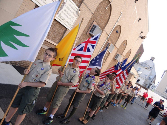 Troop 305 Honors the Flag with the Elks in Harrison, NJ