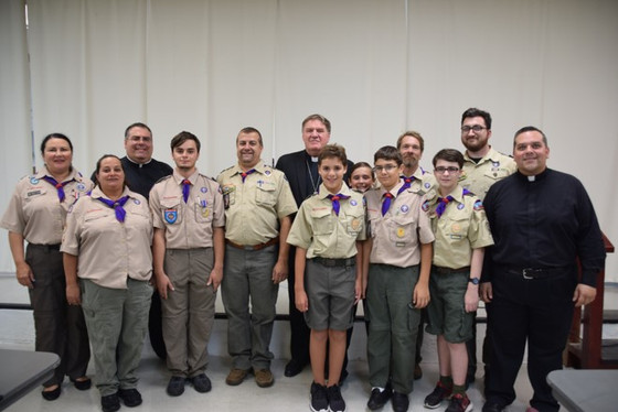 Troop 305 Presents Cardinal Tobin with Symbols of Scouting