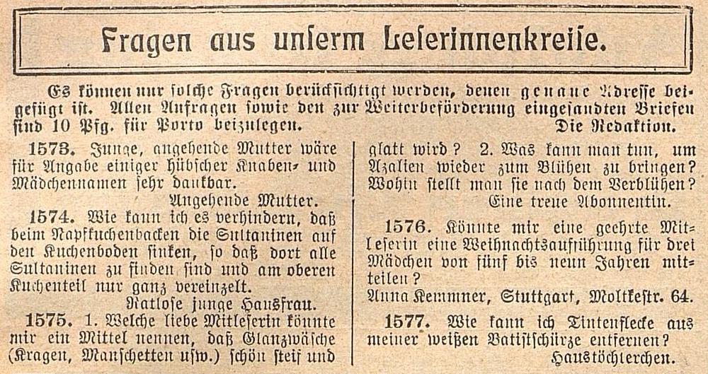 Leserfrage Deutsche Frauen- und Modezeitung Anna Kemmner