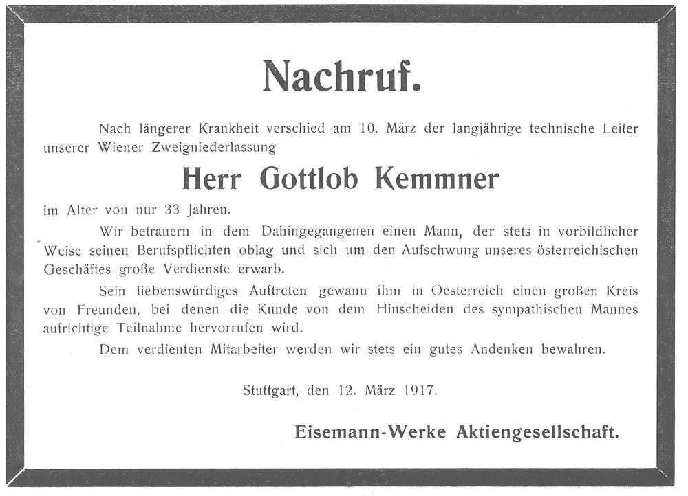 Nachruf Eisemann Gottlob Kemmner