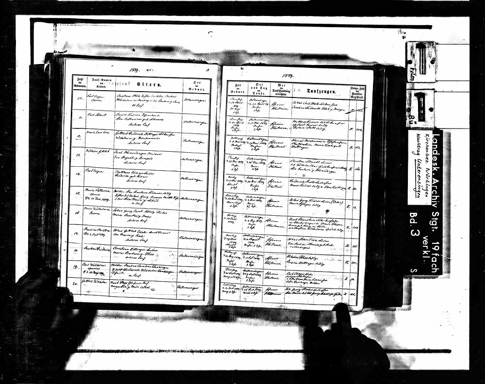 Geburtsregister Karl Eugen Kemmner Unterensingen 1889