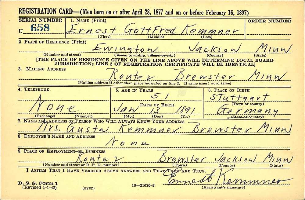 Registration Card WW2 Ernest Kemmner