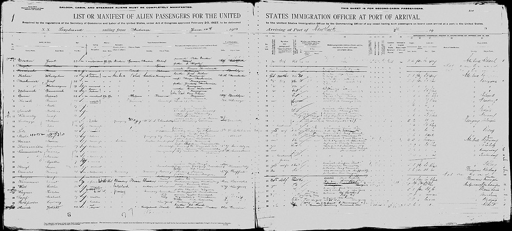 Ernest Kemmner Immigration Passenger List USA
