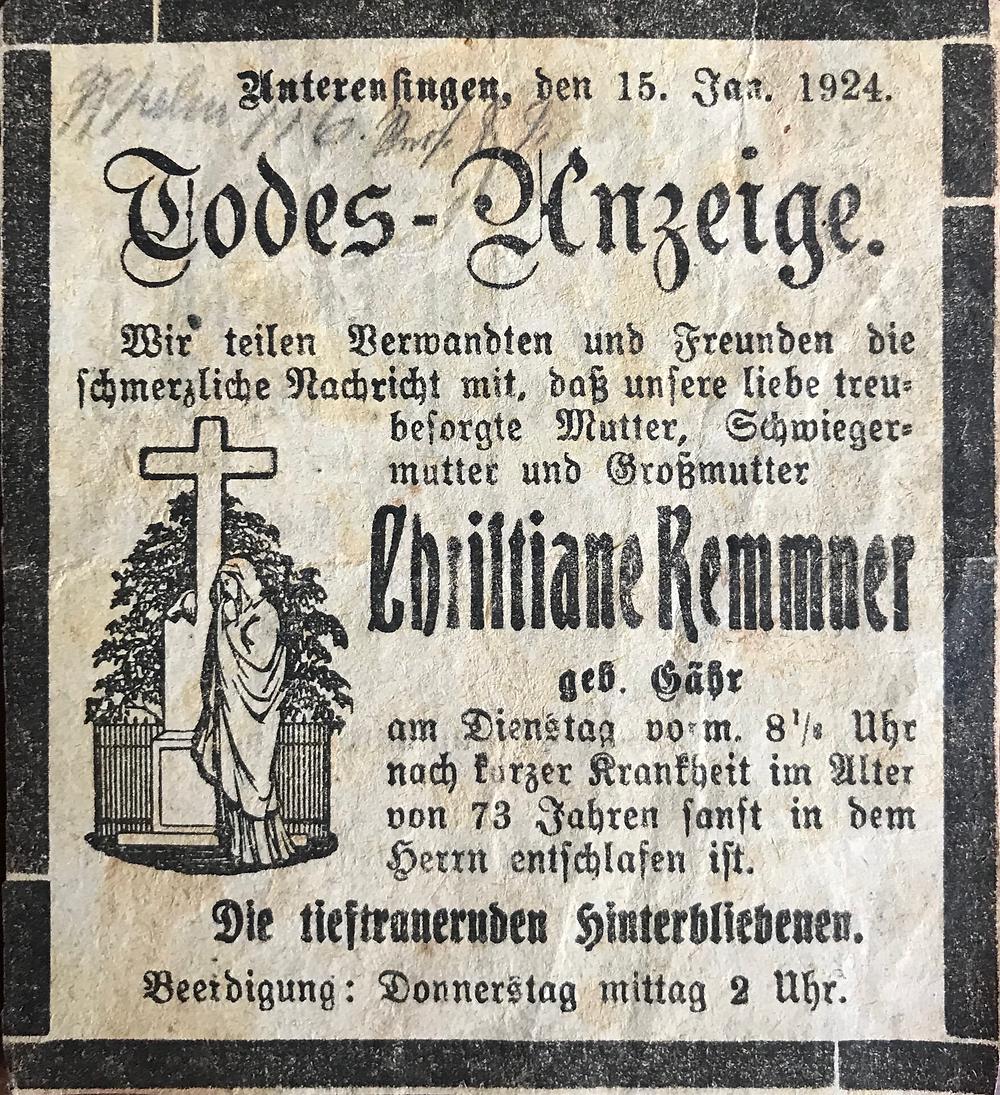 Todesanzeige Christiane Kemmner Gähr 1924 Unterensingen
