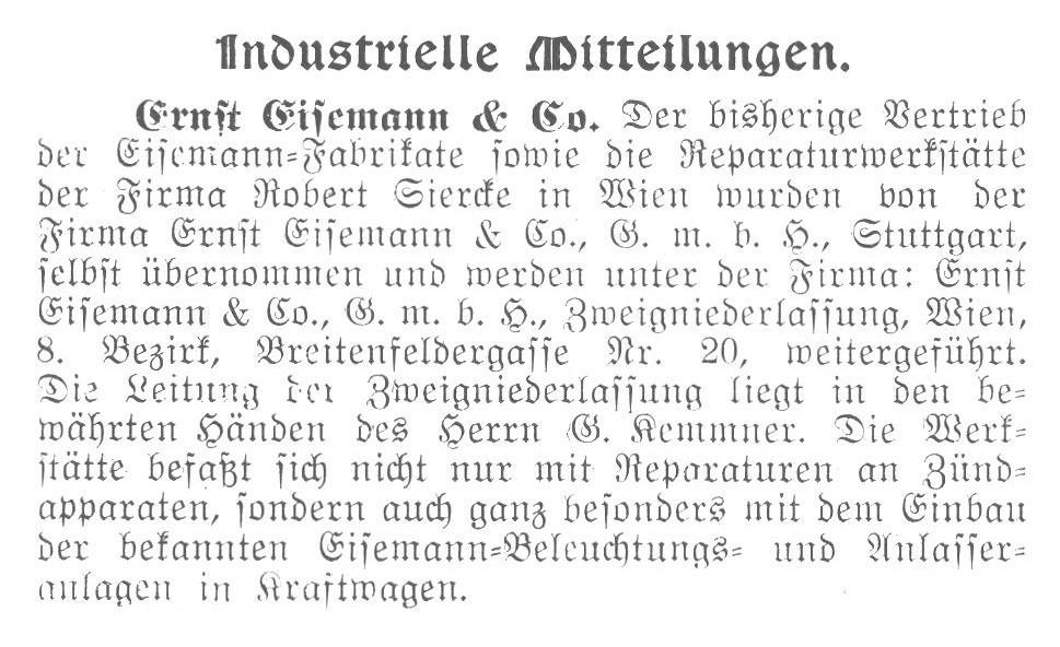 Gottlob Kemmner Eisemann Wien Allgemeine Automobil Zeitung