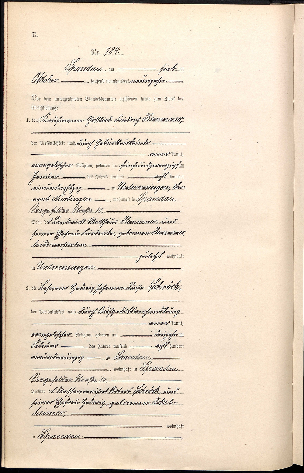 Heiratsregister Ahnenforschung