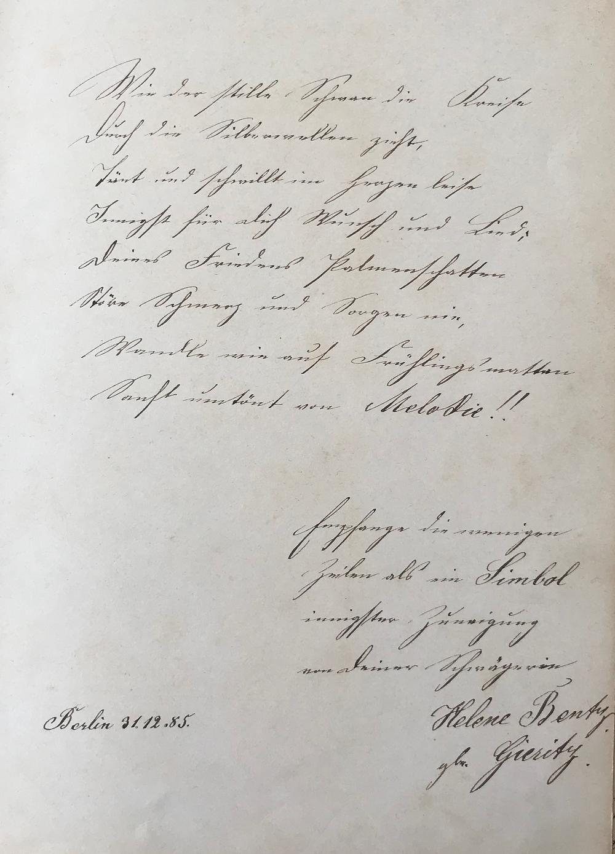 Poesiealbum 1885 Berlin