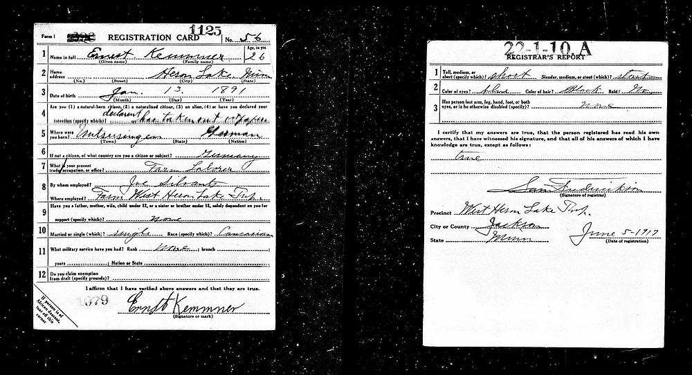Ernest Kemmner Registration Card USA WW1