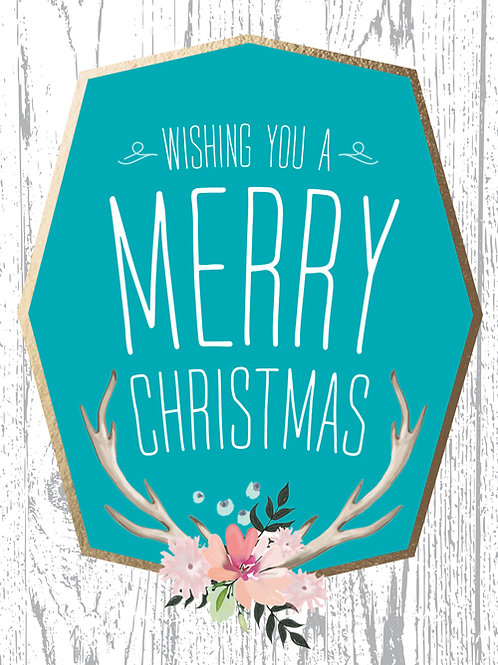 boho chic merry christmas card