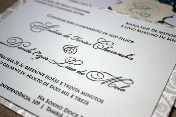 Satin + Cream Letterpress Wedding