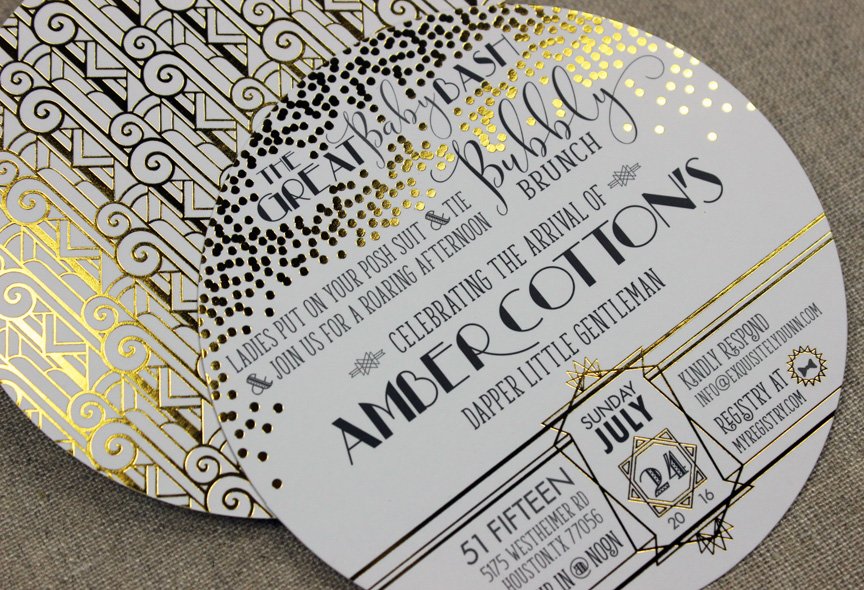 Great Baby Bash Gold Foil Invitation
