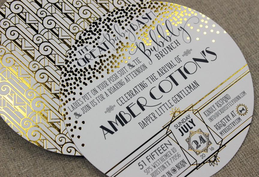 Great Baby Bash Gold Foil Invitation