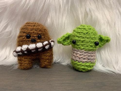 Wookie and Jedi Pocket Amigurumi plushie