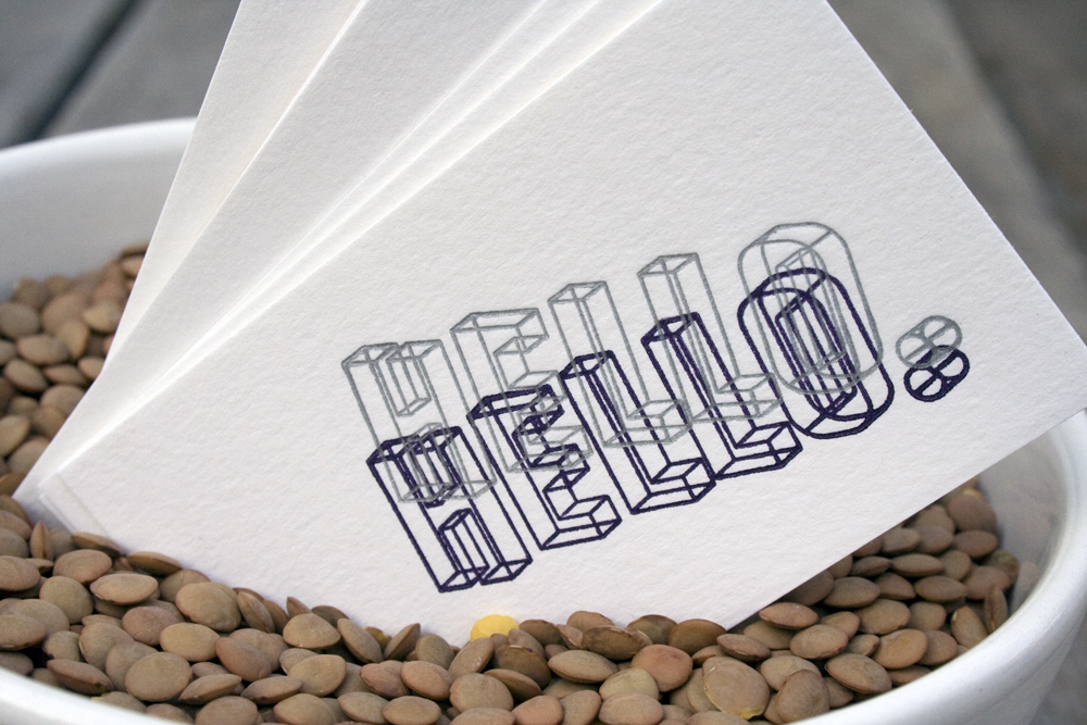 Hello x 2 Letterpress Card
