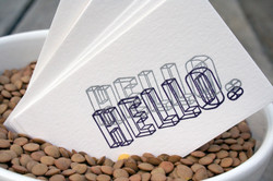 Hello x 2 Letterpress Card