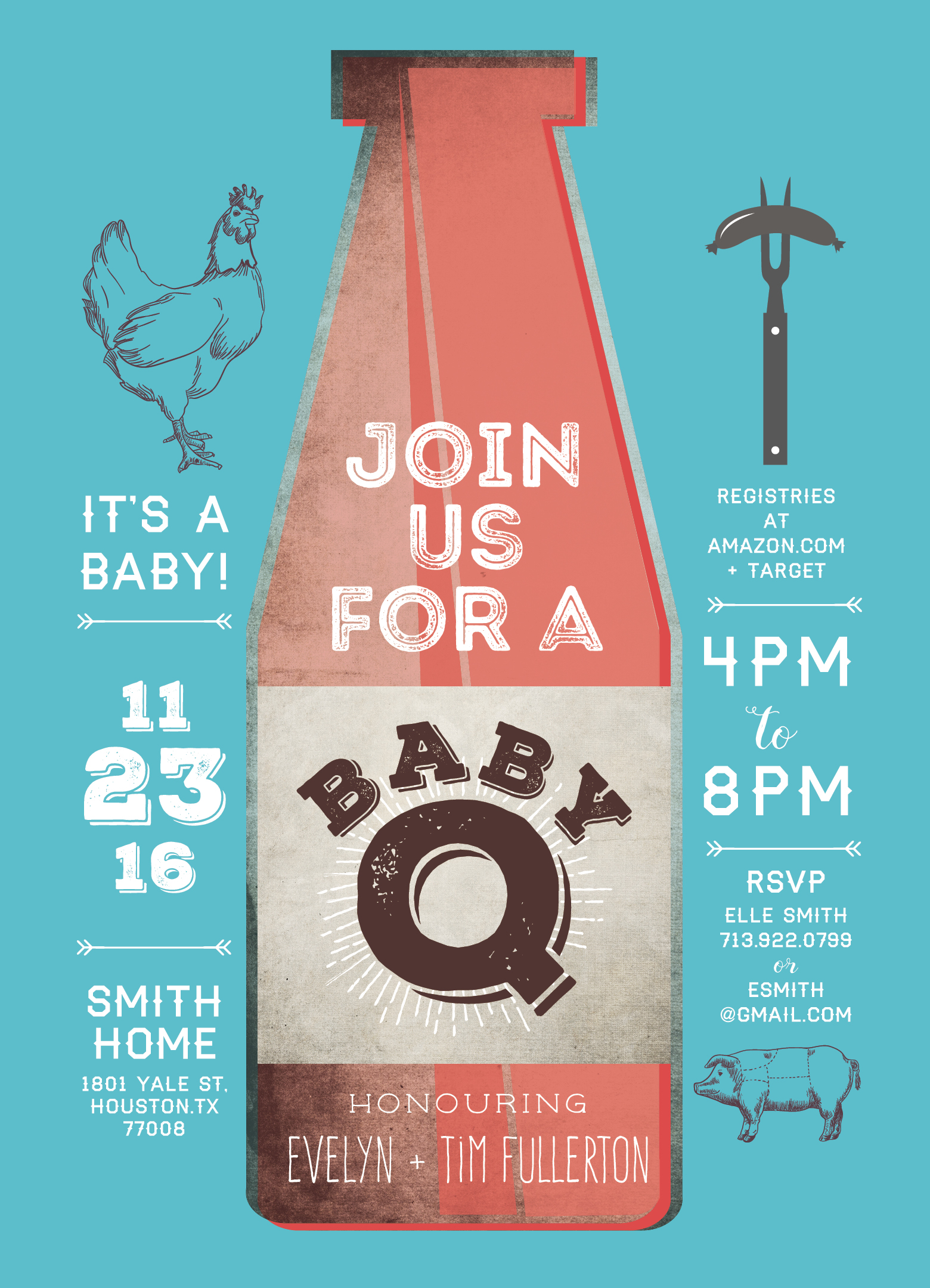 Retro BABY-Q Baby Shower Invite
