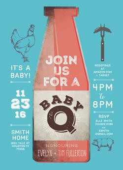 Retro BABY-Q Baby Shower Invite