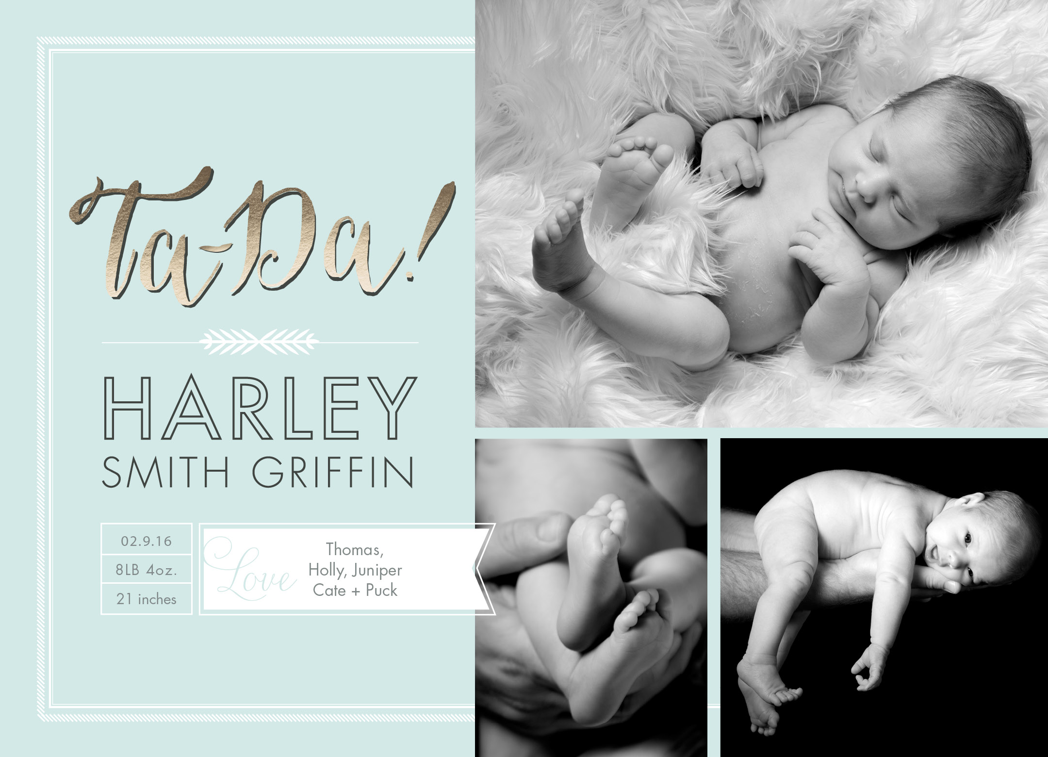 Ta Da Luxe Birth Announcement