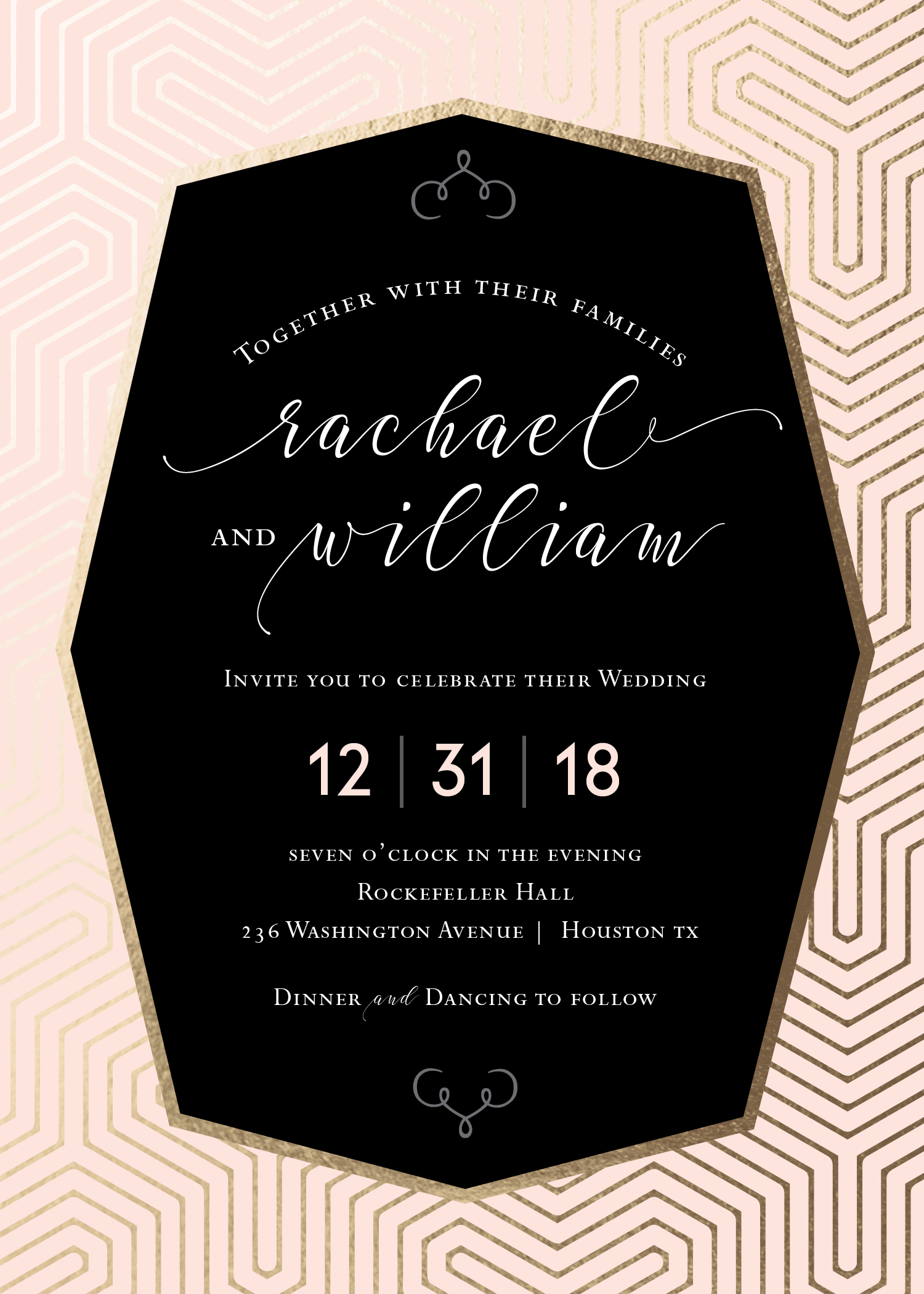 Geometric Glam Wedding Invitation