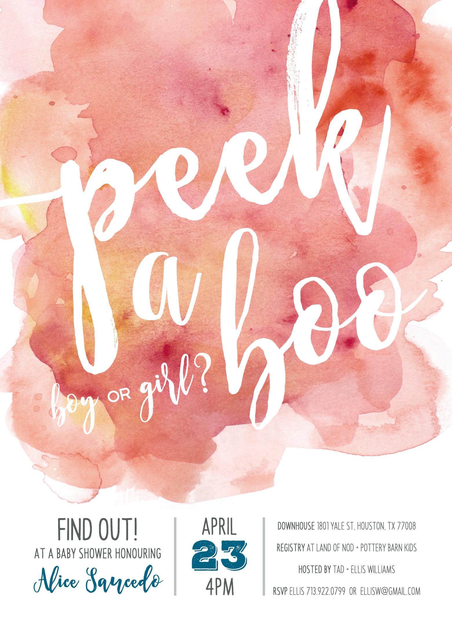 Peekaboo Baby Shower Invite