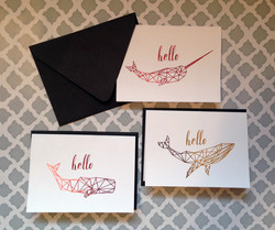 Geometric Foiled Whale Note Cards