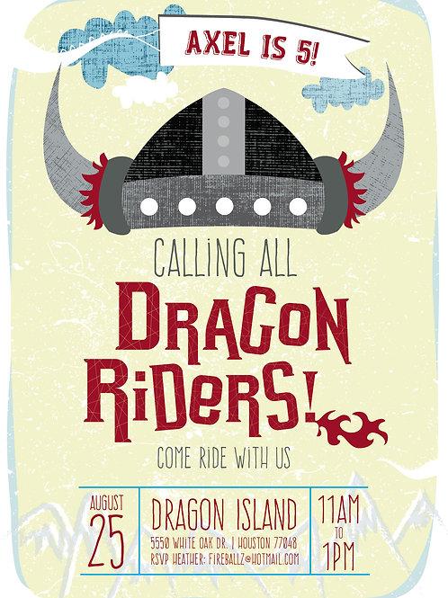 Dragonrider Birthday Invite
