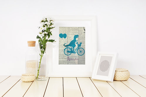 "Literary Art Print ""Dinosaur on a Bicycle"""