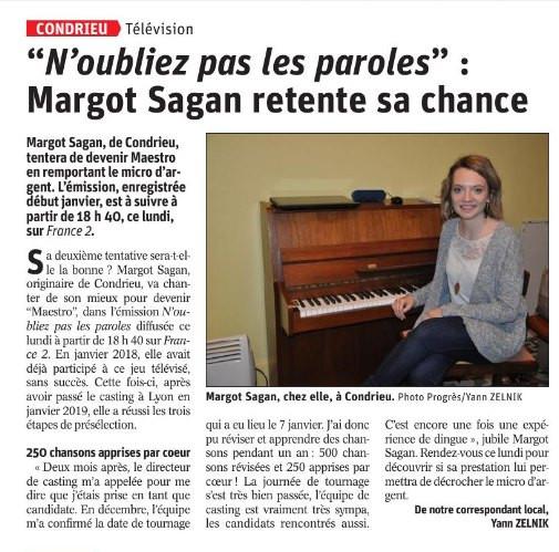 """Article dans """"Le progrès"""" de Lyon-sud 2020"""