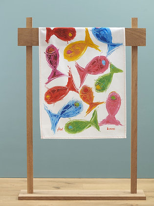 """Tea Towel """"Heureux comme un poisson"""""""
