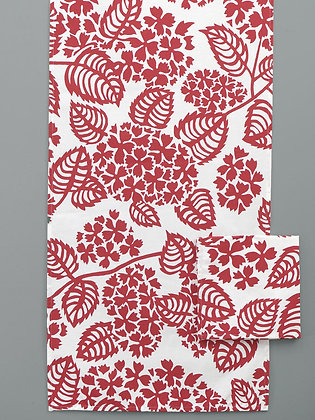 "Table Runner ""Hortensias"": Raspberry"