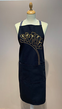 "Embroidered Apron ""Algues"" (Valérie Leroux), Navy Blue"
